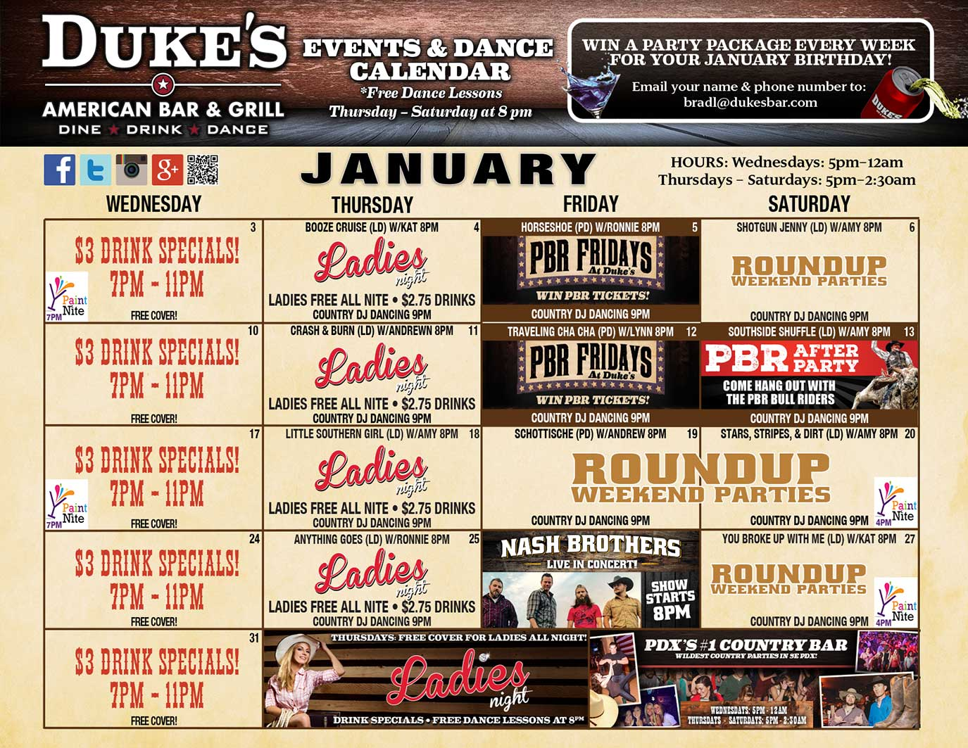 January Events and Dance Calendar